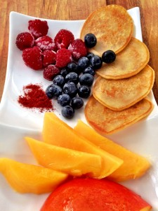 These are a special breakfast treat for those who are very sensitive to food allergens. They are free of dairy, gluten and egg, and work best served with thin slices of fresh seasonal fruit, such as mango, strawberry, peach and nectarine.