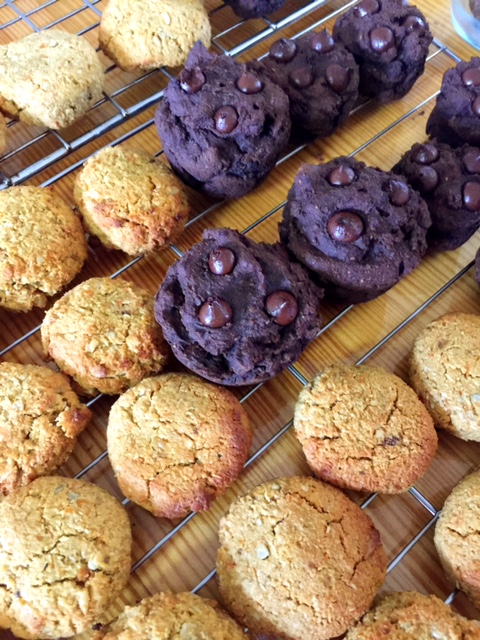 Apricot & Ginger Cookies on rack with choc zucchini muffins