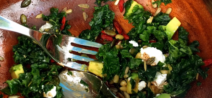 Kale, goji, activated sunflower pepita seeds, goat cheese, lemon salad